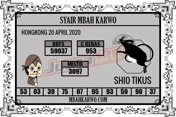 Prediksi HK 20 April 2020 - Mbah Karwo HK