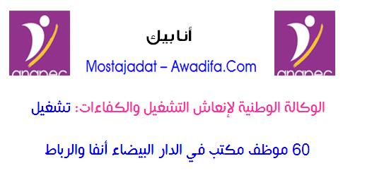 الوكالة الوطنية لإنعاش التشغيل والكفاءات: تشغيل 60 موظف مكتب في الدار البيضاء أنفا والرباط