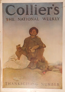 Collier's cover showing homeless man with can of beans looking skyward with a smile