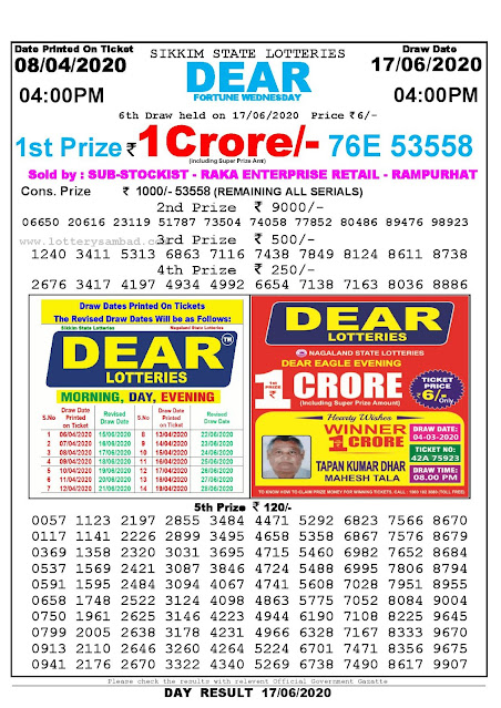 Sikkim State Lottery Sambad  08-04-2020 Today Result 4 PM