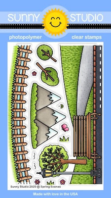 Sunny Studio Stamps: Spring Scenes Fence, Mountain, Trees & Park Background Border 4x6 Clear Photopolymer Stamp Set