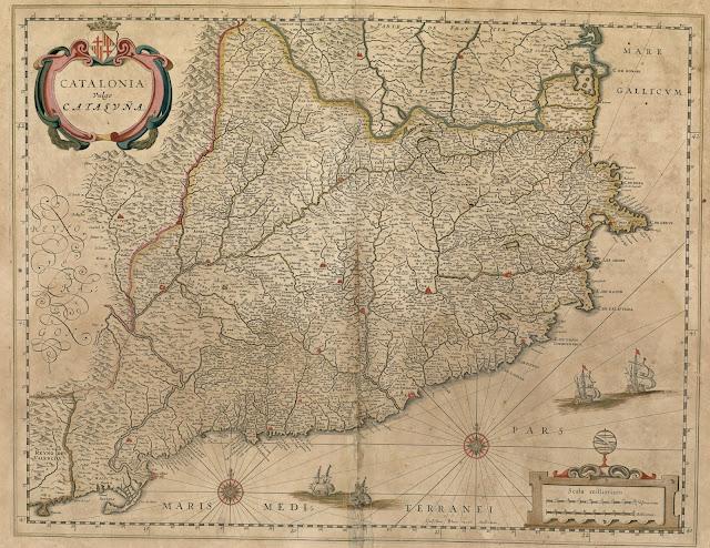 Mapa anacrònic de Catalunya, encara amb Rosselló i Cerdanya, a l'Atlas Maior de Blaeu. Amsterdam, 1672