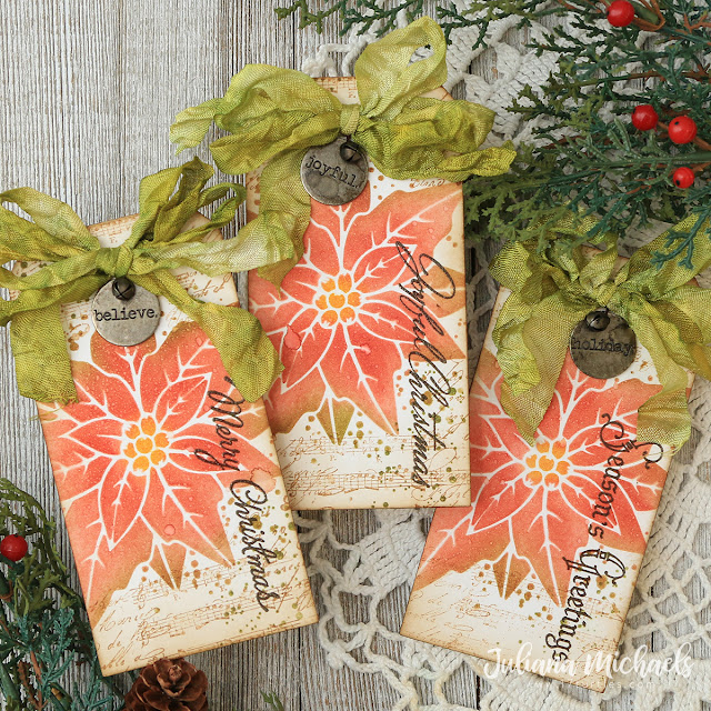 Poinsettia Christmas Gift Tags by Juliana Michaels featuring the Tim Holtz Poinsettia Duo Layering Stencil, The Poinsettia Stamp Set and Christmas Time Number Three