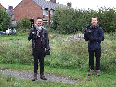 Two members of the Green Flag Award film crew at the Butterfly Park