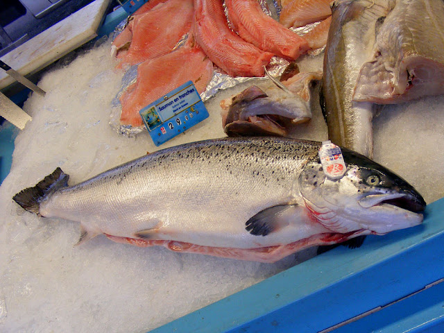 Label Rouge salmon at a market, Indre et Loire, France. Photo by Loire Valley Time Travel.