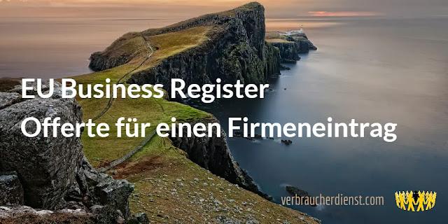 EU Business Register – Offerte für einen Firmeneintrag