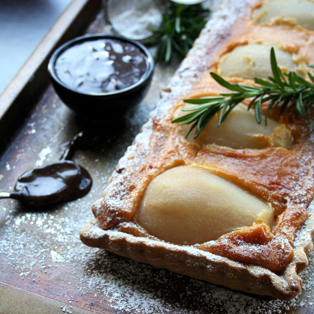 Pear and almond tart with rosemary pastry