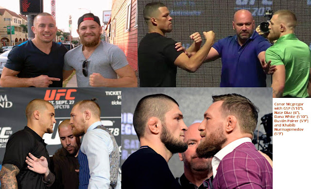 """Conor Mcgregor with GSP (5'10""""), Nate Diaz (6""""), Dana White (5'10""""), Dustin Poirer (5'9""""), and Khabib (5'9"""")."""