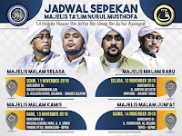 Jadwal Majlis Nurul Musthofa, 11 November - 16 November 2019