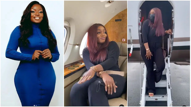 Easy life is sweet chai-Actress Bisola Aiyeola says as she enters a private Jet for the first time of her life (Photos)