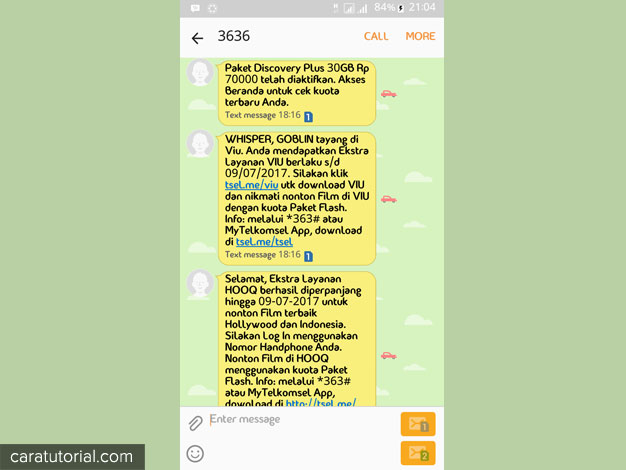 SMS Paket internet telah di aktifkan