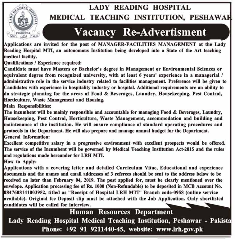 Vacancy Re-Advertisement in Lady Reading Hospital 2019