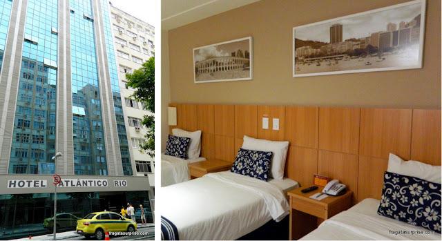 fachada e o apartamento do Hotel Atlântico Copacabana