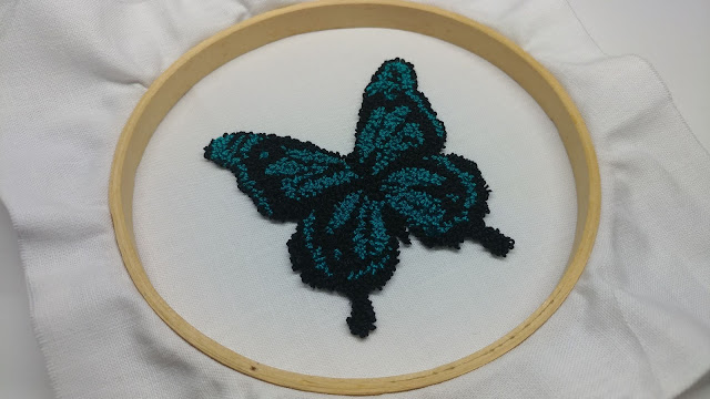 Needle punch butterfly made with Aurifil 12wt thread as art quilt accent