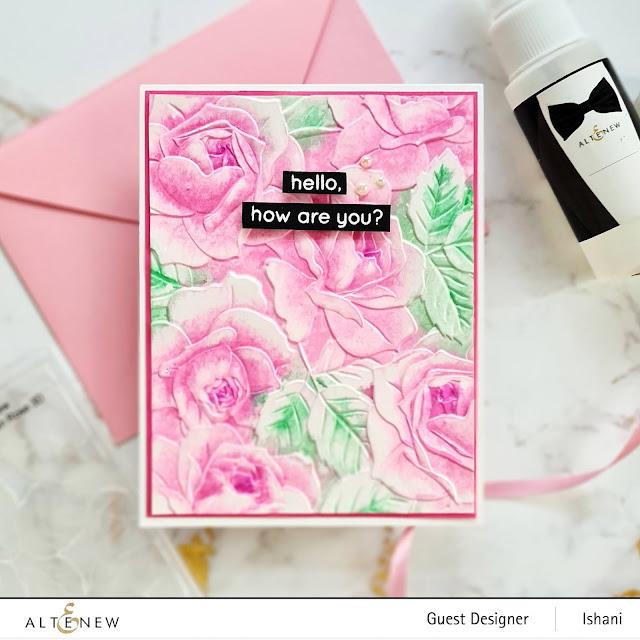 Embossing folder card, Craft your life Project kit - Garden rose, Altenew Garden rose, Rose card, Watercolring with embossing folders, Altenew Fine mister, Altenew cherry blossom crisp dye inks, Quillish, Ishani