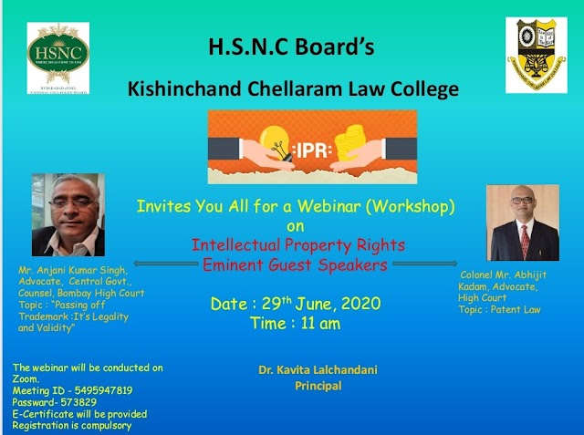 [Online] Session on Intellectual Property Rights by H.S.N.C Board's Kishinchand Chellaram Law College [Register Soon]