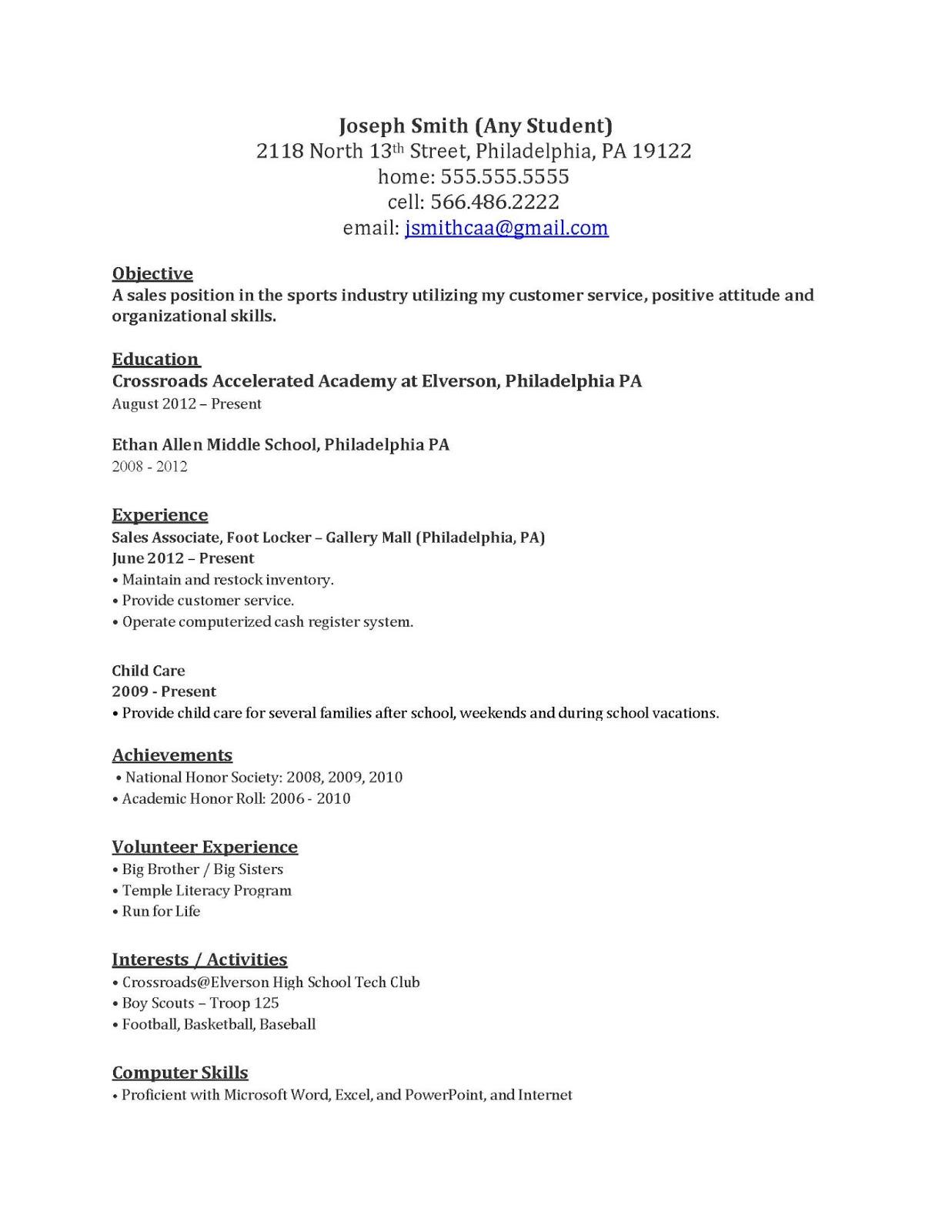 Teenage Resume Outline Sample Format Resume Cover Letter
