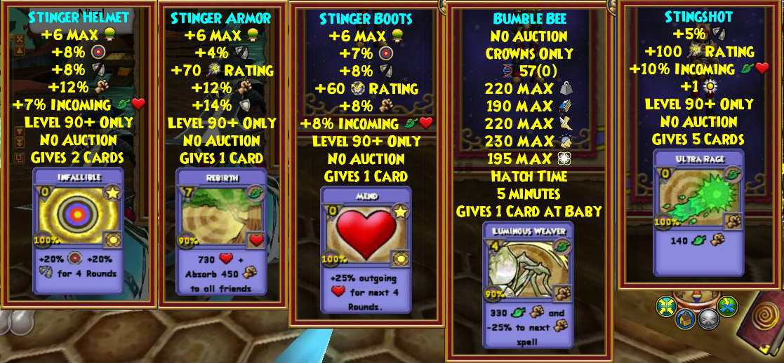 New Wizard101 Hive Bundle Gear, Weapon, and Pet Stats