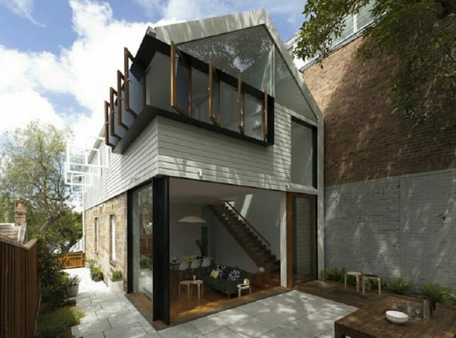 2-storey house with lots of windows