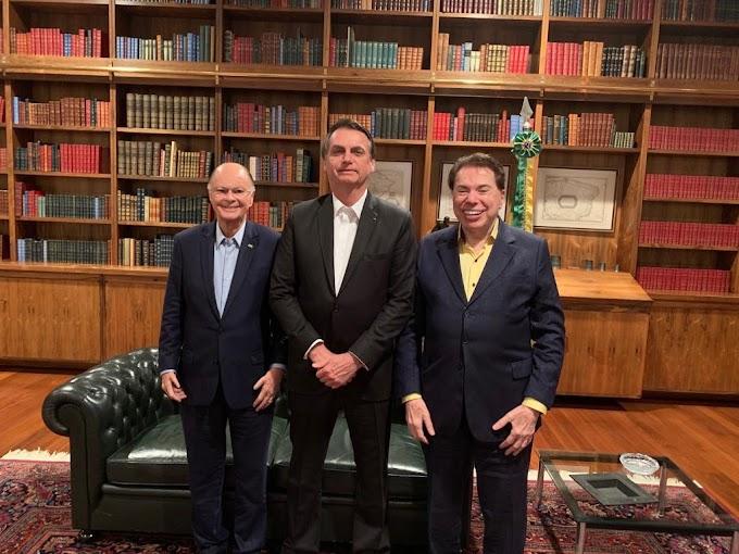 Jair Bolsonaro recebe bispo Edir Macedo e Silvio Santos para jantar