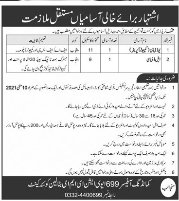Army 699 Aviation EME Battalion Quetta Cantt Jobs 2021 in Pakistan
