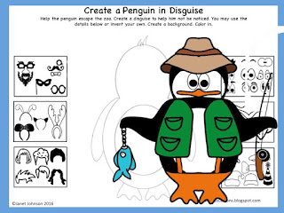 worksheet for early finishers depicting a penguin and ideas for giving him a disguise