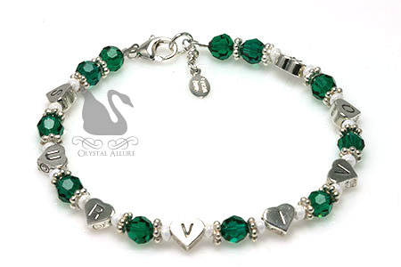 Organ Transplant Awareness Survivor Heart Beaded Bracelet (B173)