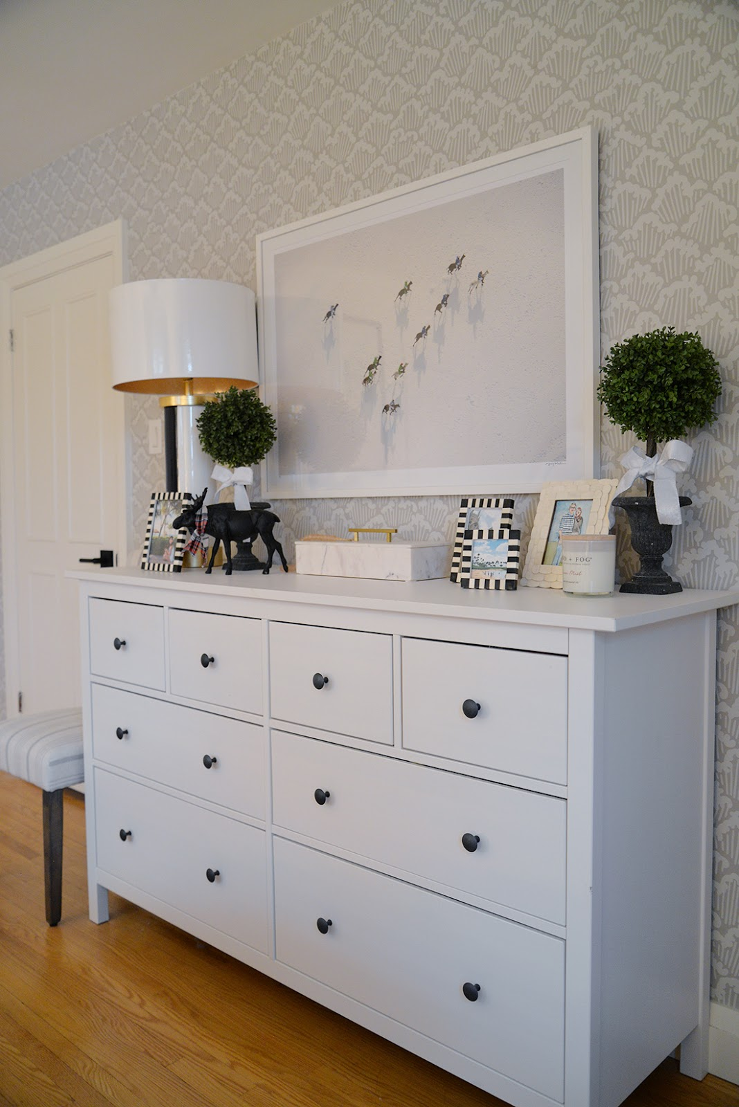 ikea hemnes dresser, gray malin print, winter horse print, simple christmas bedroom decor
