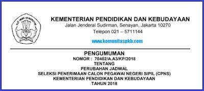 Perubahan Jadwal Tes CPNS Tahun 2018
