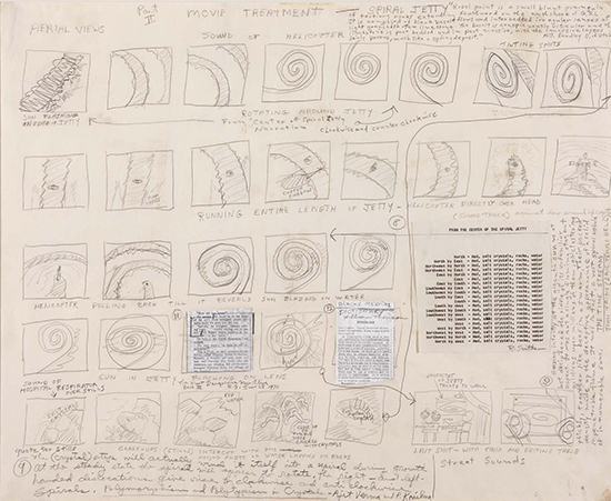 Robert Smithson Movie Treatment for Spiral Jetty. Part II, 1970 Pencil and collage on paper, typed and handwritten text.  48 x 61 cm