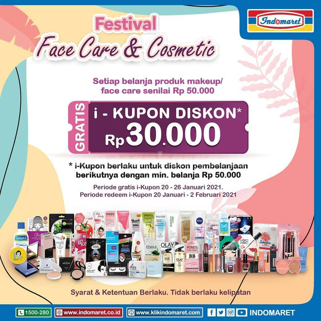INDOMARET Festival Face Care & Cosmetic – GRATIS I-Kupon Diskon senilai Rp 30.000