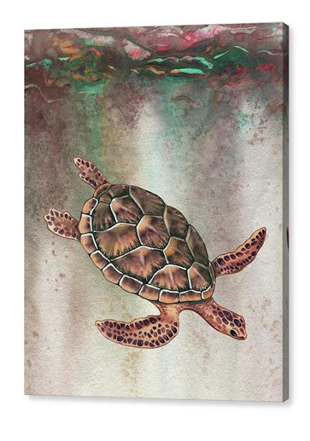 Watercolor Turtle Illustration painting by artist Irina Sztukowski