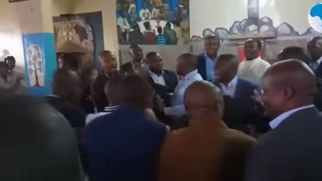 Watch the video of how Kenyan government officials battle in chapel over control of body electorate