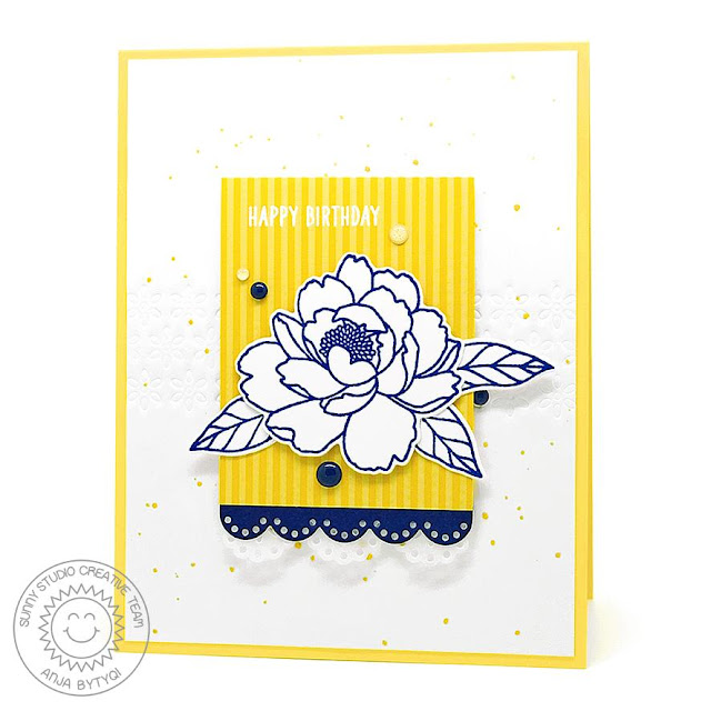 Sunny Studio Stamps: Eyelet Lace Borders Pink Peonies Birthday Card by Anja Bytyqi