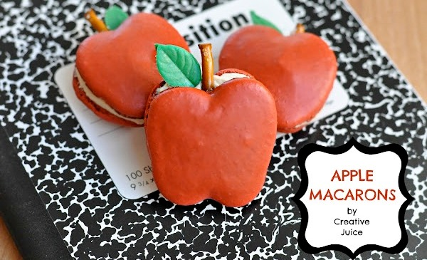 Apple Shaped Macarons with Caramel Filling Recipe - via BirdsParty.com