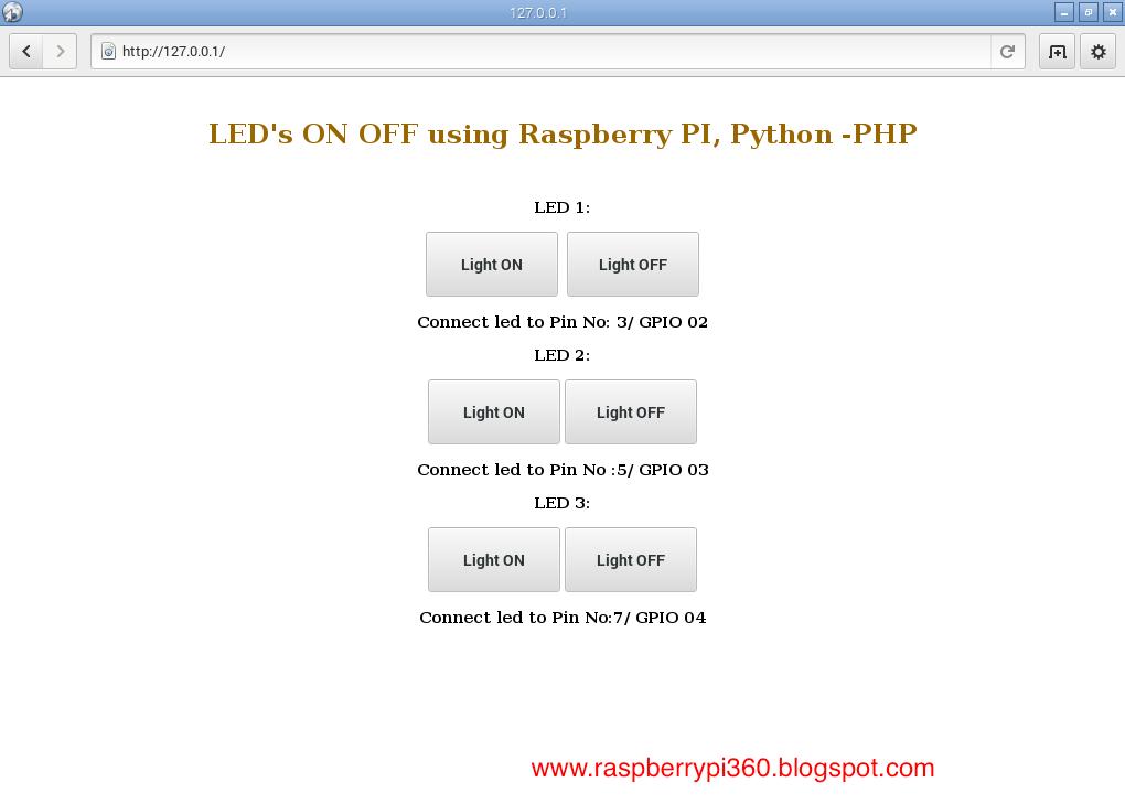RPi 360: Raspberry Pi Apache Server Led ON OFF