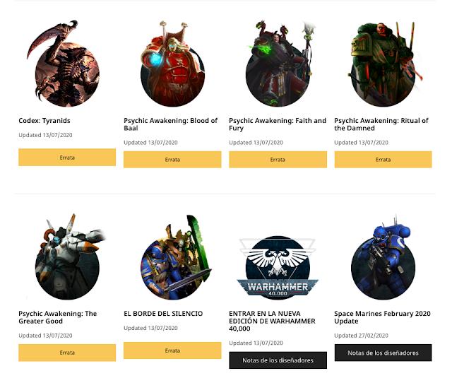 FAQs actualizaciones facciones y suplementos Warhammer 40,000