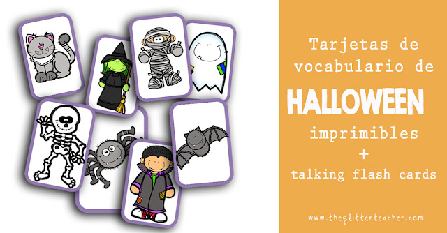 tarjetas de vocabulario de Halloween imprimibles y talking flash cards