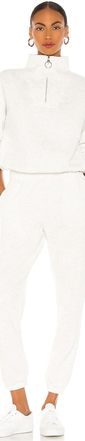 LPA MOCK ZIP SWEATER SHOWN IN WHITE