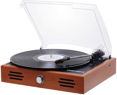 Musitrend Mini Stereo Turntable 3 Speed Record Player with Built-in Speakers, Vinyl to MP3 Recording, RCA line Out, Natural Wood …