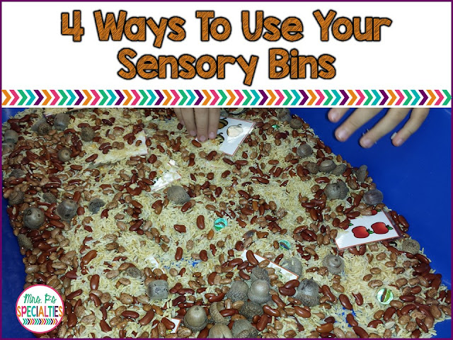 Use your sensory bin for more than reinforcement! Here are 4 different ways to target academic and language skills while using the sensory bin. These ideas are perfect for special education classes, students with autism and multiple disabilities.