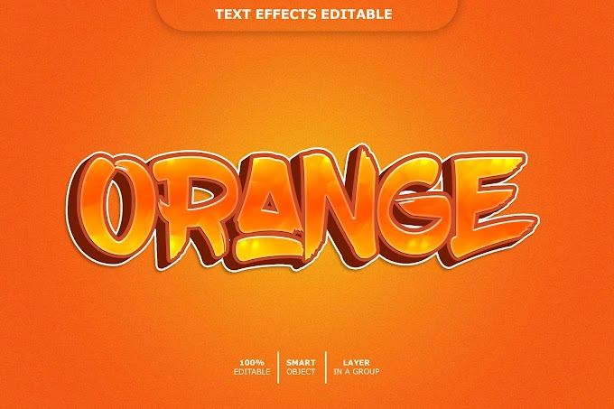 Orange Text Effect PSD