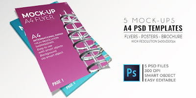 5 Mock-Up Flyer-PSD Templates International A4 Size.