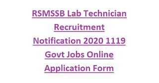 RSMSSB Lab Technician Recruitment Notification 2020 1119 Govt Jobs Online Application Form