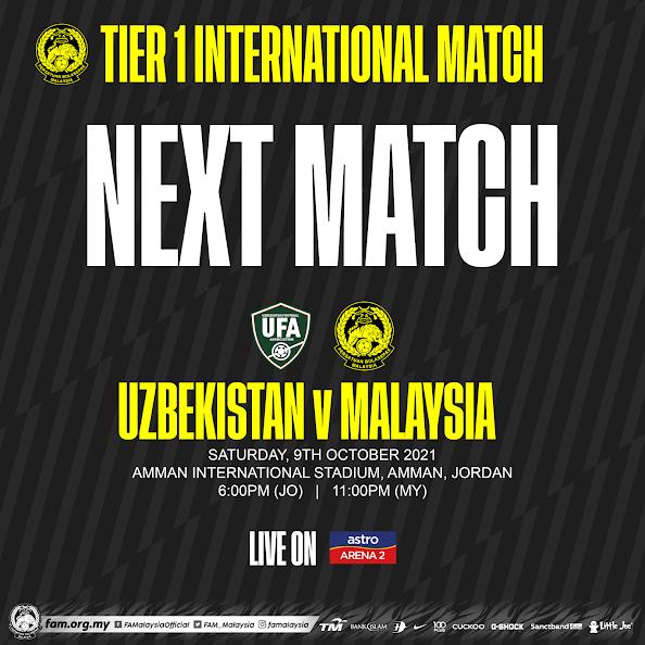 Live Streaming Uzbekistan vs Malaysia 9.10.2021