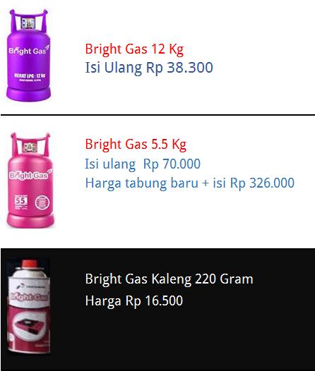 Harga Bright Gas Pertamina Biaya Dan Tarif