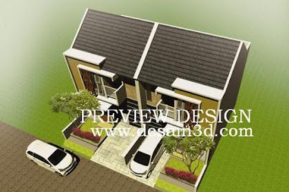 Jasa Desain 3D bird view 2 rumah mirror kiri kanan
