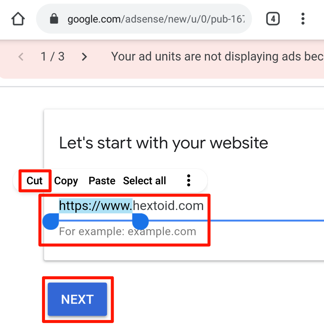 Enter Site Name (Without https://www.) > Next