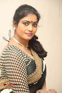 Telugu Actress Jayavani Jayavani Stills in Black Saree at Intlo Deyyam Nakem Bhayam Success Meet  0079.JPG
