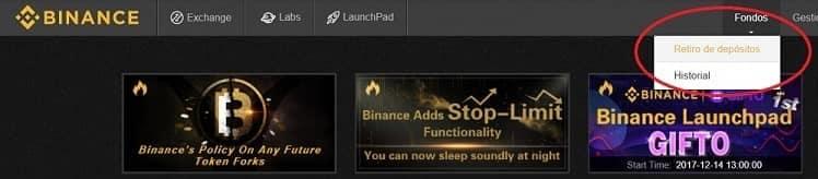 retiro fondos ethereum binance coinbase bitcoin
